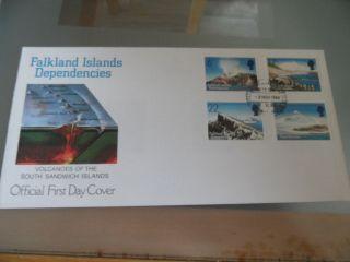 Falkland Islands Deps.  ; F.  D.  C.  8 Nov 1984; Volcanoes. photo