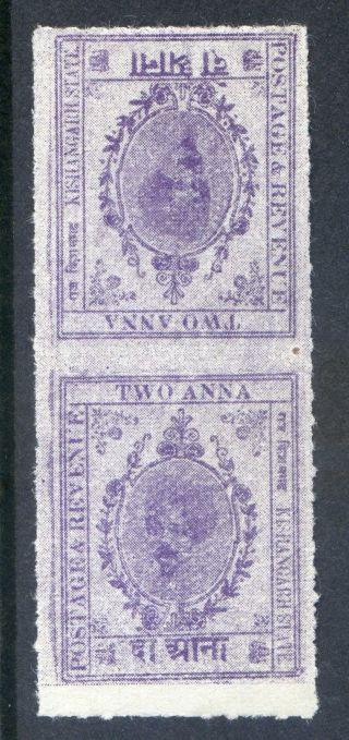 India (kishangarh) : 1912 2a Sg 51a Tete - Beche Pair (cat.  £14) photo