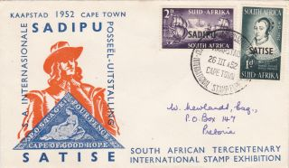 South Africa : Sadipu Satise Tercentanary Stamp Exhib.  First Day Cover (1952) photo