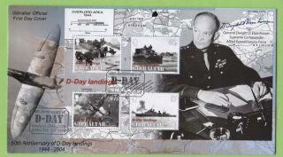 Gibraltar 2004 60th Anniversary Of D - Day Miniature Sheet On First Day Cover photo