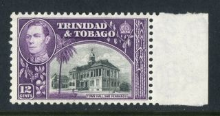 Trinidad & Tobago 1938 - 44 Kgvi.  12c Black & Purple W/margin.  Mh.  Og. photo