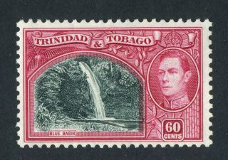 Trinidad & Tobago 1938 - 44 Kgvi.  60c Green & Carmine.  Mh.  Og. photo