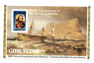 (e151) Gibraltar Miniature Stamp Sheet - 1980 - Sg.  441 - 175th Anniversary Lord Nelson photo