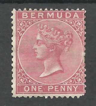 Bermuda Sg1 The 1865 Cc Wat 1d Rose Red Cat £100 photo
