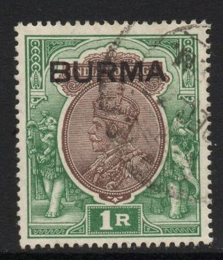 Burma Sg13 1937 1r Chocolate & Green Fine photo