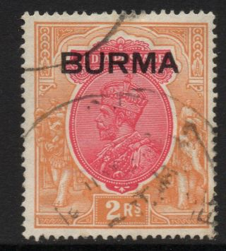 Burma Sg14 1937 2r Carmine & Orange Fine photo