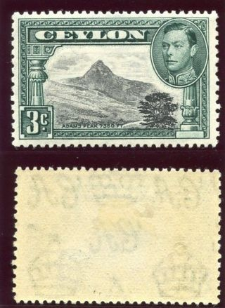 Ceylon 1938 Kgvi 3c Black & Deep Blue - Green Mlh.  Sg 387.  Sc 279e. photo