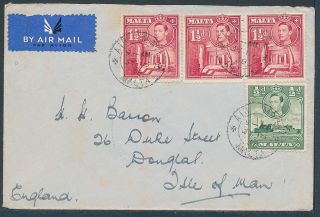 Malta To The Isle Of Man 1938 Airmail Kg6 1½d Strip Of 3 + ½d photo
