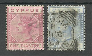 Cyprus Sg12&13 The 1881 Victorian Cc Wat 1p & 2p Cat £67 (see Scan) photo