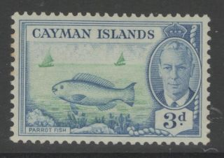 Cayman Islands Sg141 1950 3d Bright Green & Light Blue Mtd photo