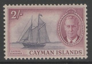 Cayman Islands Sg145 1950 2/= Violet & Reddish - Purple Mtd photo