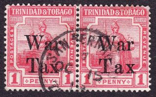 Trinidad Kgv 1918 War Tax Sg188b/189 1d Rose - Red Pair; ' Tax ' Spaced Variety photo