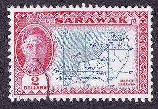Sarawak; Kgvi 1950 Sg184,  2$ Blue & Carmine; photo