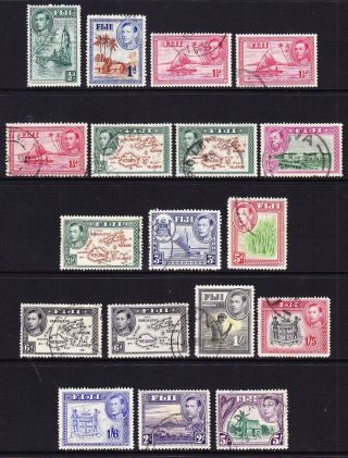 Fiji; 1938 Defs Fine Lot; 18 Stamps; Vals To 5/ - ; Various Vals/perfs photo
