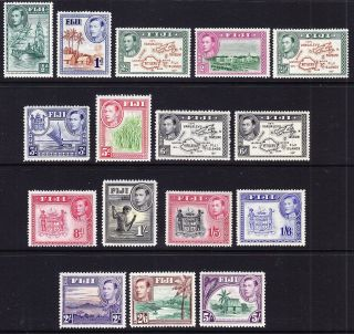 Fiji; 1938 Defs Fine Lot; 16 Stamps; Vals To 5/ - Various Vals/perfs Cat £50 photo