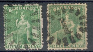 Barbados Qv 1875 - 80 Half - Pence Bright Greens Sg67 Sg67x photo