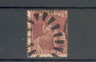Barbados Qv 1873 3d Brown - Purple Sg63 photo