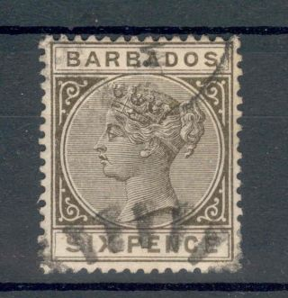 Barbados Qv 1882 - 86 6d Olive - Black Sg100 photo