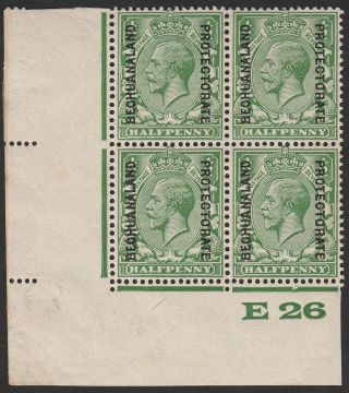 Bechuanaland Protectorate 1927 Kgv ½d Green Control E26 Block 4 Sg91 Toning photo