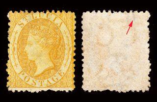 St Lucia Qv 1864 - 76 Wmk Crown Cc P12½ 4d Yellow Sg 12 Mounted Cv £170 photo