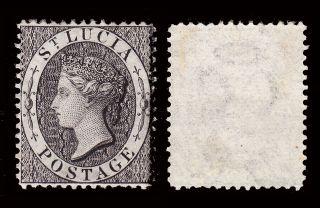 St Lucia Qv 1864 - 76 Wmk Crown Cc P14 1d Black Sg 15 Fine Mounted Cv £45 photo