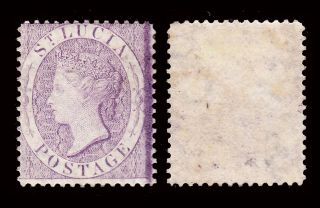 St Lucia Qv 1864 - 76 Wmk Crown Cc P14 6d Violet Sg 17b Fine Mounted Cv £250 photo