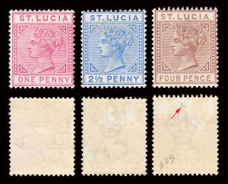 St Lucia Qv 1883 - 86 Die I 1d,  2½d & 4d Sg 32/34 Hinged Cv £175 photo