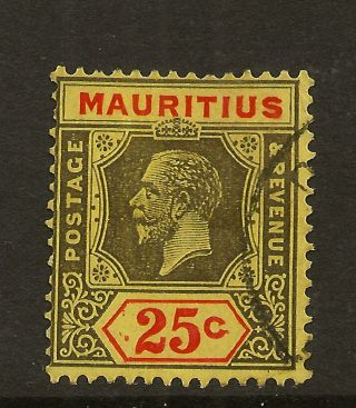 Mauritius: 1921 25c Black & Red/pale Yellow Die Ii Sg 199d photo