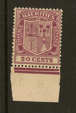 Mauritius: 1926 20c Purple Sg 221 Very Lightly Mounted photo