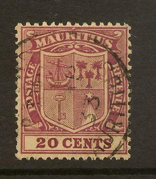 Mauritius: 1926 20c Purple Sg 221 Fine photo