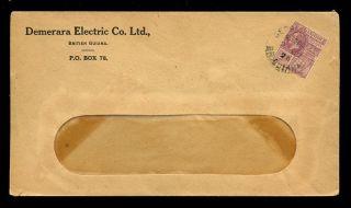 British Guiana 1926 Demerara Electric Co Envelope + Kg5 2c photo