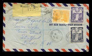 British Guiana 1949 Kg6 Registered Airmail 48c + 36c + 2c photo
