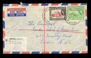 British Guiana 1959 Registered Airmail Beterverwagting Rubber Cds. . .  36c + 6c photo