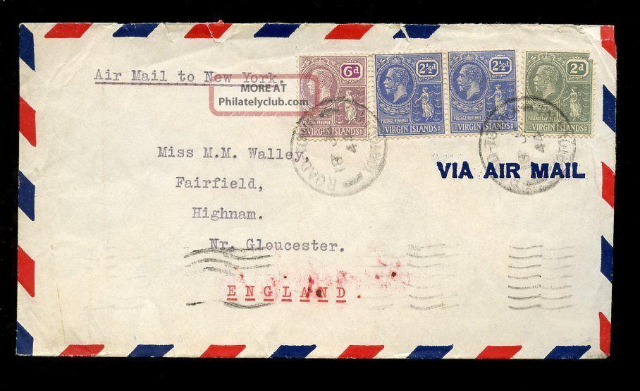 British Virgin Islands Kg5 6d + 2 1/2d Pair + 2d 1944 Airmail To Gloucester British Colonies & Territories photo