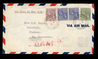 British Virgin Islands Kg5 6d + 2 1/2d Pair + 2d 1944 Airmail To Gloucester photo