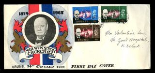 Brunei 1966 Churchill Illustrated Fdc. . .  3 Values photo