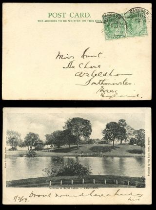 Burma Ke7 1909 Ppc Royal Pavilion + Lakes. . .  India 1/2a X 2 photo