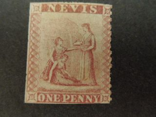 Nevis,  Scott 5,  1p.  Value 1861 Issue Lake Rose Mh Light Gum photo