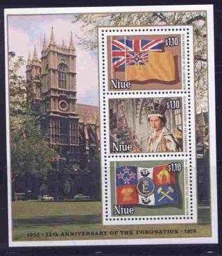 Niue 221d Queen Elizabeth 25th Anniv Coronation,  Flag,  Cathedral photo