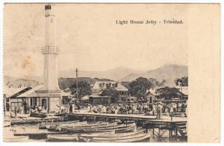 Trinidad Port Of Spain Lighthouse Jetty Postcard Mailed To Usa 1907 Cover photo
