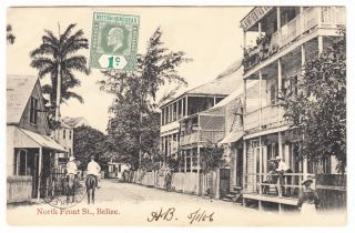 British Honduras Belize North Front Street Postcard Mailed To Usa 1906 Cover photo