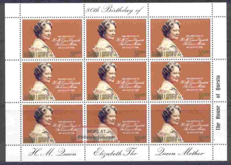 Samoa 532 Sheet Queen Mother,  80th Birthday British Colonies & Territories photo