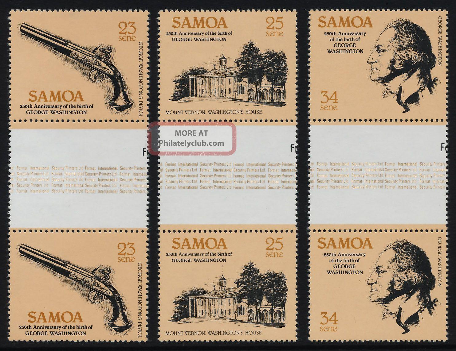 Samoa 567 - 9 Gutter Pairs George Washington,  Gun,  Weapon,  Mt Vernon British Colonies & Territories photo