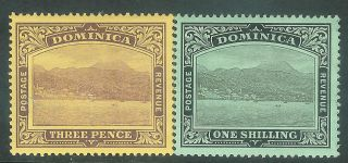 Dominica 1908/21 Purple On Yelow 3d Black On Green 1/ - Sg51/53 photo
