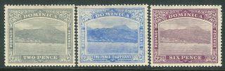 Dominica 1921 Grey 2d Blue 2.  5d Purple 6d Sg65/66/67 photo