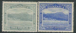 Dominica 1908/21 Grey 2d Blue 2.  5d Sg49/50 photo