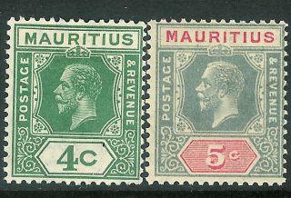 Mauritius 1921/34 Green 4c Grey/carmine 5c Die Ii Sg226c/227 photo