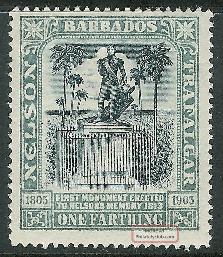 Barbados 1906 Nelson Black/grey 1/4d Crown Cc Sg145 British Colonies & Territories photo