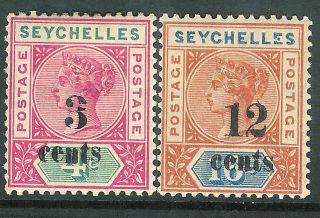 Seychelles 1893 Surcharge 3c On 4c & 12c On 16c Sg15/16 photo