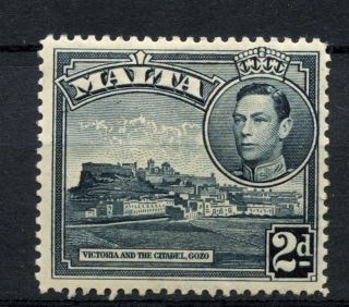 Malta 1938 - 43 Sg 221,  2d Slate - Black Kgvi Definitive Mh A51228 photo